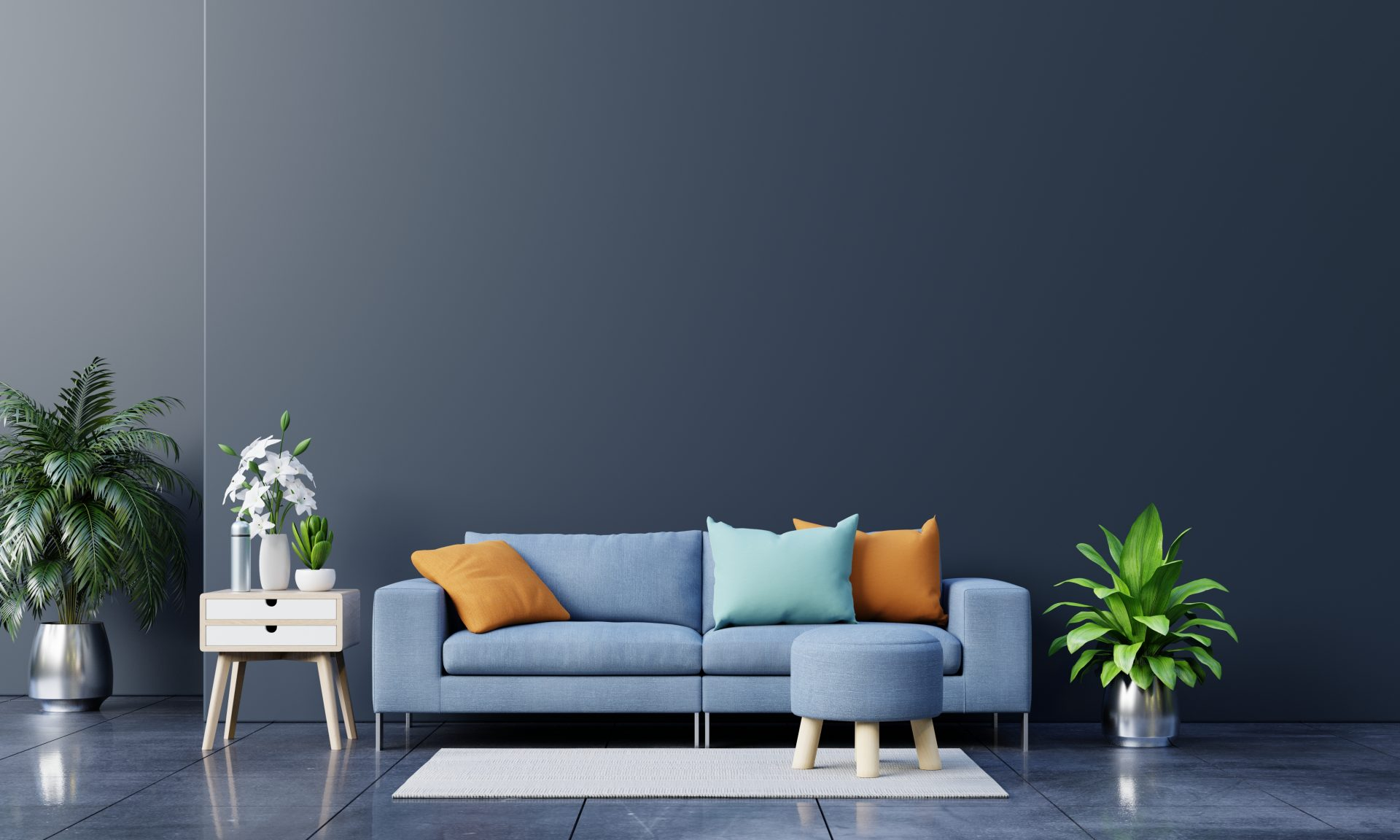 modern-living-room-interior-with-sofa-green-plants-lamp-table-dark-wall-background